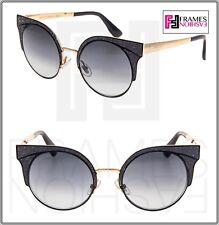 01758f952e7 JIMMY CHOO ORA Matte Black Gold Glitter Gradient Metal Round Sunglasses ORA  S
