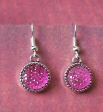 "Pink Sparkle Earrings on Silver plate fish hook wire ""533"" Free UK Post"