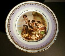 Antique Baroque Portrait Compote Pedestal Cake Platter Music Box Murillo Spain