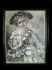 Petite fille en tenu d'apparat fusain signé Maridal 1896 girl ceremonial dress