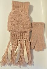 Women's Pink Scarf, Hat And Gloves. Set Of 3