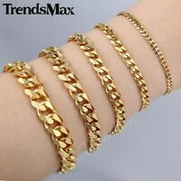 3/5/7/9/11mm Gold Stainless Steel Cuban Link Chain Bracelet For Men  8-10 inches