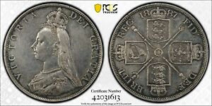 1887 Great Britain Double Florin S-3922 ROMAN 1 PCGS XF Cleaned KM# 763