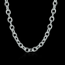 Hot Sale 925 Silver 8MM Lobster Buckle Wide Chain Men Women Necklace NY100