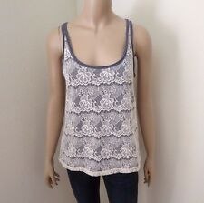 NEW Abercrombie Women Floral Lace Overlay Tank Top Size Medium Shirt Gray