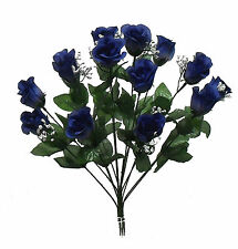 14 Long Stem Roses Buds ~ Dark Blue ~ Silk Wedding Flowers Centerpieces Bouquets