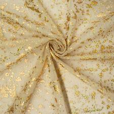 Tüll Glitzer Flecken beige Goldfarbig 1 5m breite