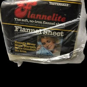 Vintage Flannelite Full Fitted Tastemaker Flannel Sheet No Iron Made In USA