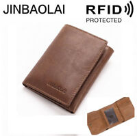 Men High Capacity Fashion Leather Cowhide Trifold Wallet Antimagnetic Purse New