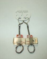 Anne Marie Chagnon Pewter Red Lucite Glass Square Abstract Drop Dangle Earrings