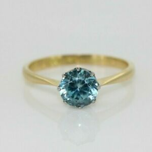 Vintage 18ct Yellow Gold 1.00ct Blue Zircon Solitaire Ring (Size O 1/2, US 7)