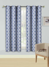 1PC ROSA NAVY WHITE  Printed Rombo Grommet Panel Window Curtain Lined Blackout