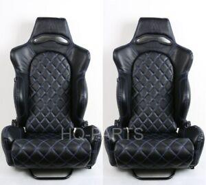 2 TANAKA BLACK PVC LEATHER RACING SEAT RECLINE BLUE DIAMOND STITCH FITS HYUNDAI
