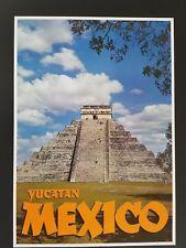 ORIGINAL 1960's KUKULKAN'S MAYAN SERPENT PYRAMID  MEXICO TRAVEL POSTER  MAYA 60s