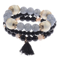 Charm Women Bohemian Multilayer Pearl Beaded Tassel Pendant Chain Bracelet Sets