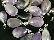 Amethyst crystal Teardrop pendant healing Chakra Reiki gemstone Grade B DIY