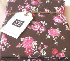 Pottery Barn Dorm Twin Duvet Cover Sunwashed Floral Pink Roses Flowers Brown NIP