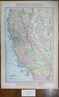 "Vintage 1900 CALIFORNIA Map 14""x22"" ~ Old Antique Original GOLD RUSH SANTA FE"