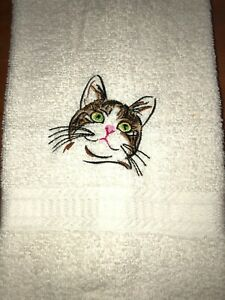 Embroidered Ivory Bathroom Hand Towel Colorful Tabby Cat Face  Green Yellow Eyes