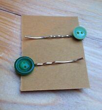 Cute Handmade Vintage Button Hair Slides/Kitsch/Plastic/Retro/Green