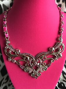 Betsey Johnson Imperial Princess Fuchsia Pink Crystal Tribal Collar Necklace