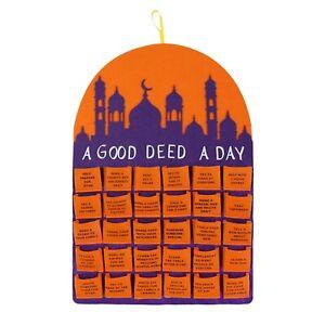 'A Good Deed a Day' Felt Muslim Islamic Ramadan Calendar - Orange & Purple