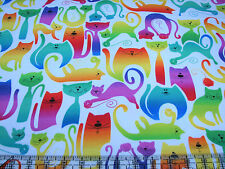 3 Yards Cotton Flannel Fabric - Benartex Kat tastic Rainbow Cats on White