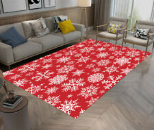 Christmas Various White Snowflakes on Red Area Rugs Living Room Floor Mat Carpet