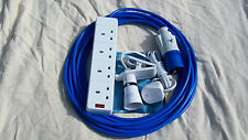 20m CAMPING ELECTRIC HOOK UP  WITH 4 WAY SOCKET -  BLUE ARCTIC CABLE