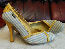 "DIESEL BLUE & WHITE STRIPE TAN LEATHER 4"" HEELS COURT SHOES EU 38 UK 5 USED"