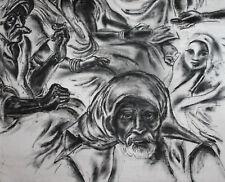 Large Modernist oil painting Islamic Arabic figures portrait