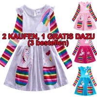 Kinder Mädchen Einhorn Partykleid Gestreift Freizeit Rüsche Prinzessin Kleid