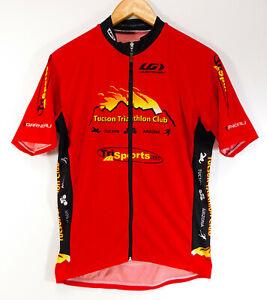 LOUIS GARNEAU Tucson Triathlon Club CYCLING JERSEY Red Zip Up SHIRT MEN'S MEDIUM