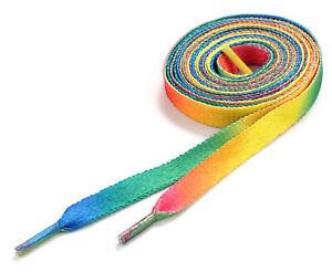 Flat Rainbow Shoelaces Coloured Skate Shoe Laces Trainers Boots Colour