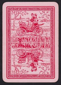 1 Single ANTIQUE Playing/Swap Card OLD WIDE COUPLE DRIVE AUTOMOBILE CAR Pink