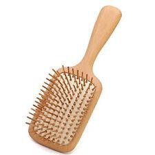 Wooden Hair Brush Natural Beech Anti Frizz Bristles Large Square Paddle Brush