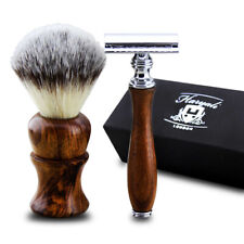 2X Traditionnel Hommes Rasage Set Blaireau Cheveux Brosse & Sécurité Rasoir Bois