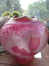 """remarquable vase""""ART NOUVEAU"""" verre  dégagé à l'acide   Legras?"""