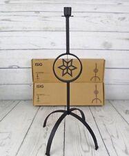 "Set of 2 Ikea ISIG Black Iron Candlestick Candle Holder Hexagram Star 18"" Tall"
