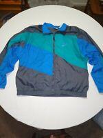 Vintage Nike ColorBlock Windbreaker Gray Blue Teal Mens Large Jacket Swoosh zip