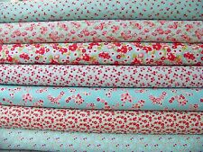 LITTLE RUBY Bonnie and Camille Moda Aqua Quilting Fabric ~ 7 fat quarters bundle