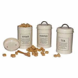 VINTAGE Kitchen Storage Canister Set TEA COFFEE SUGAR Jar CREAM WHITE