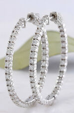 1.45 Quilates VS1/E Diamante Natural 14K Oro Blanco Macizo Pendiente de Aro