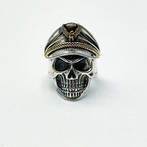 NEW STERLING SILVER 925 MENS SKULL RING PIRATE RING HEAVY BIKERS RING RESIZABLE