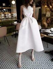 Short Wedding Dresses Satin Bridal Dress Elegant Half-Calf Wedding Gown
