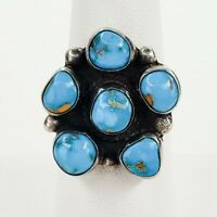 Native American Jewelry Navajo Sterling Silver Turquoise Cluster Ring Size 7.5
