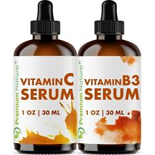 Vitamin C & Vitamin B Serum For Face Antiaging Dark Spot Remover Set 1 Oz Each