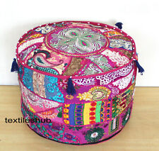 New Vintage Cotton Ottoman Indian Handmade Pouf Cover Patchwork Floor Sofa Throw