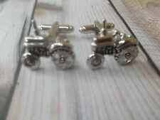 CL065 Silver Tractor Cufflinks Cuff Links Chfistmas Gifts For Him Wild Novelty +