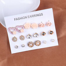 Earrings Jewelry Set Rose Flowers Heart Crystal Rhinestone Pearl Stud Earrings